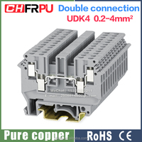 UDK4 terminal block 32A 690V 0.2-4mm2 Screw rail type udk4 Double connection terminal