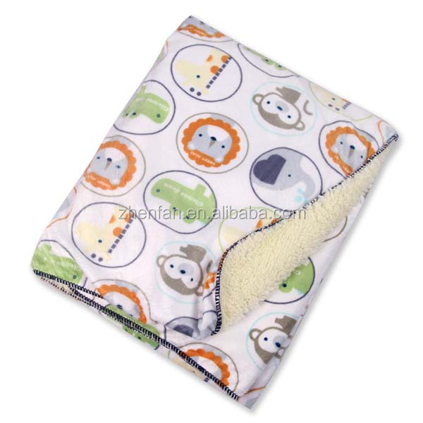 circle animal head pattern embrodered 102*76cm fleece baby blanket