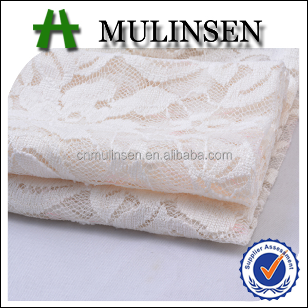 Mulinsen Textile Knitted 90% Polyester 10% Spandex White Lace Fabric Market in Dubai for Bridal Wedding Dress