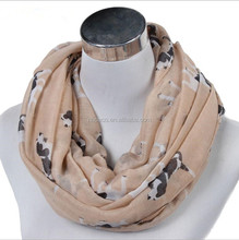 whosale 2018 spring autumn summer scarf women silk scarf plain cotton chiffon dog printing collar shawls