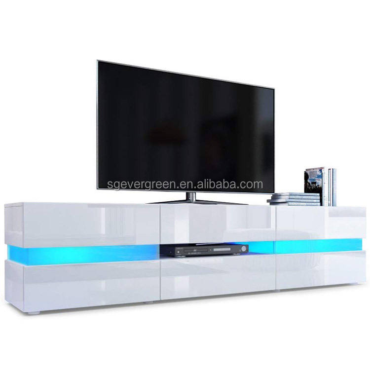 high gloss white wholesale  blue Led light wooden tempered glass tv stand  With  Showcase