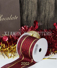2.5 inch high quality tetoron gold glister wire edge christmas ribbon in stocks