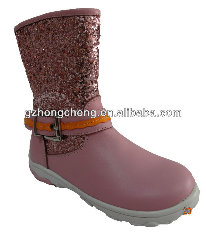 2013 Beautiful designed leather boots with gilitter for girls