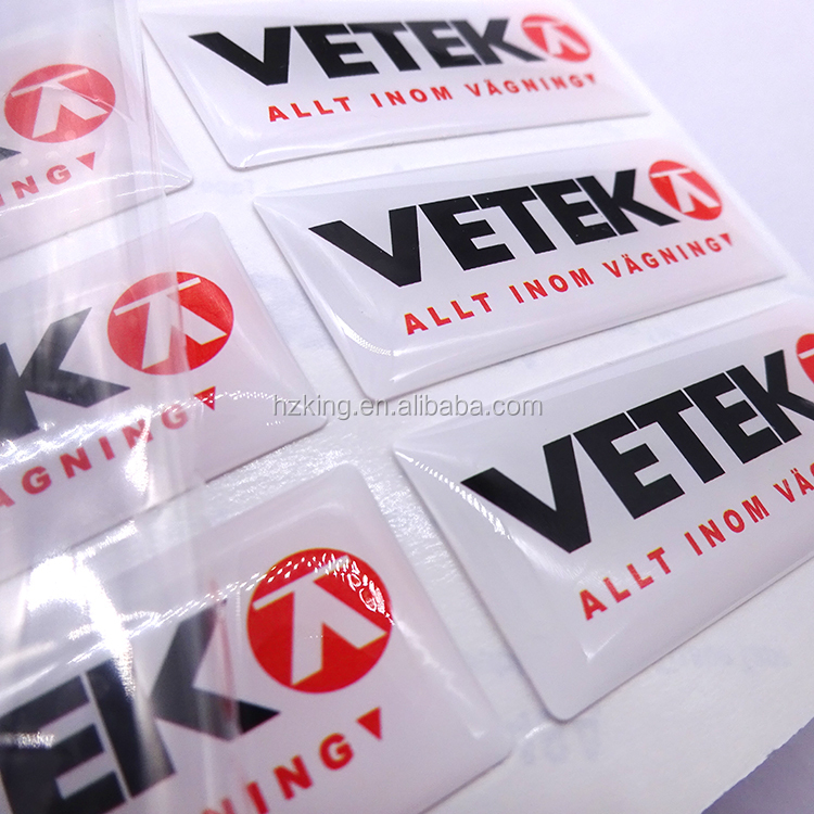 Custom design flexible PVC epoxy domed sticker with 3M adhesive backed