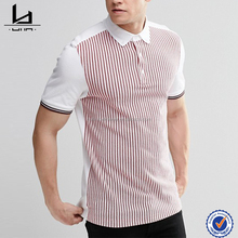 OEM men short sleeve custom slim fit white and red striped polo shirt