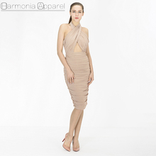 G161 summer fashion cross front halter neck backless mesh material one piece dress of knee length casual dress
