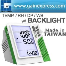 Portable Wall mount / Desktop Carbon Dioxide CO2 Temperature RH DP WB monitor w/ backlight Made in Taiwan
