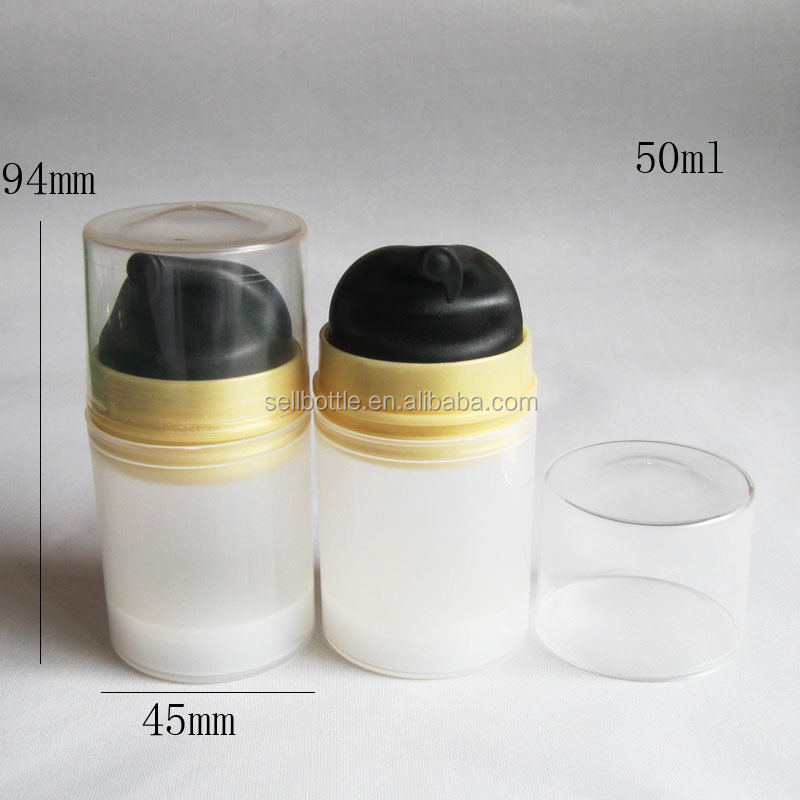 50ml cute shape white PP material airless pump plastic bottle with black dispenser for body care/cream