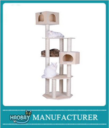 Premium Pinus Sylvestris Wood Cat Tree Condo Scratching Post Kitty Furniture Tall Sturdy Light Wood and Sisal Rope
