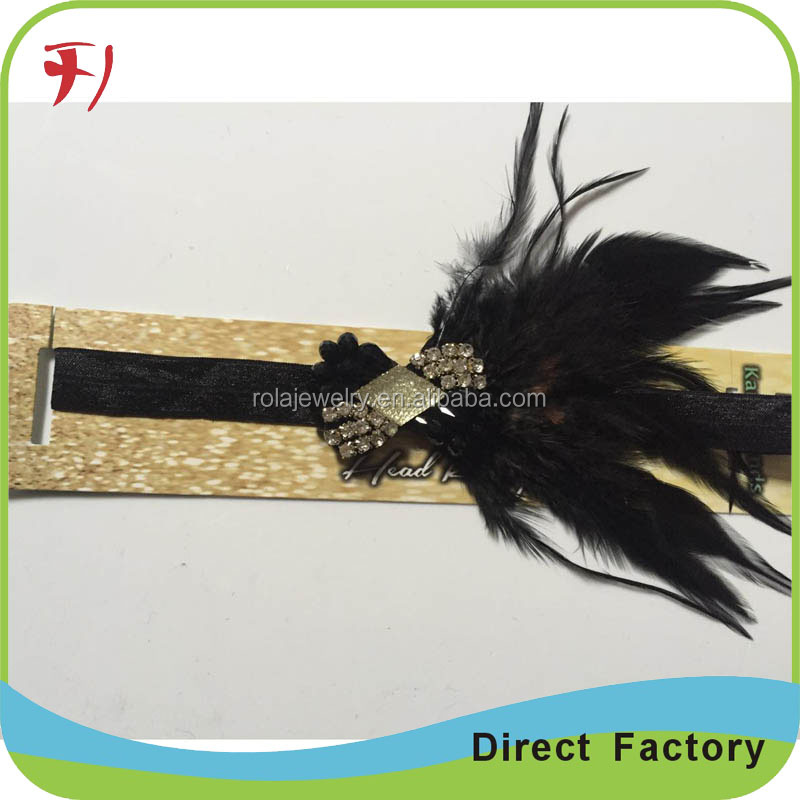 Women's Flapper Headband Black Feather Headband for Women Tassel Hair Band Crystal Headband Bling Ostrich Feather
