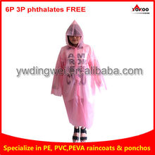 PEVA raincoat, pink PEVA raincoat for women