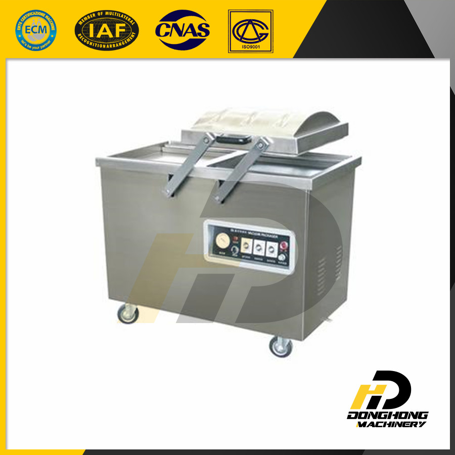 Double chambers vacuum packing and sealing machine for meat