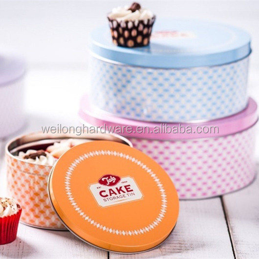 Kitchen Round Sweets Cookies Can Metal Cake box