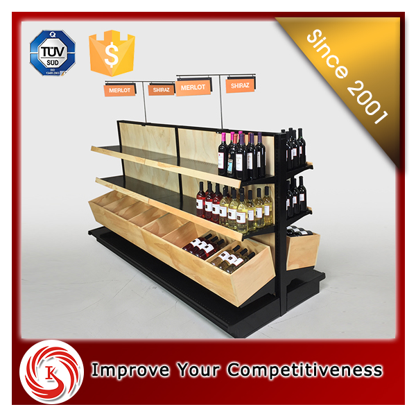 2016 KSL hot sale wooden liquor display cabinet for wine retail store