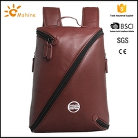 Eco friendly custom printed laptop backpack /handle bag with leather trim