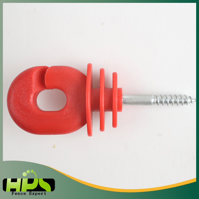 Hot sales electric fence PP screw-in wood post oval shape ring insulator for livestock