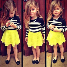 Wholesale 2017 New girl's long sleeve skirt suit Girls Striped top + Yellow lace skirt 2Pcs