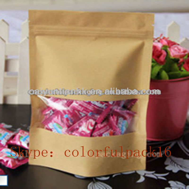 Food Kraft Paper Pouch/Brown coffee bean bag with window/Custom Kraft ground coffee packaging bag with ziplock&tear notch
