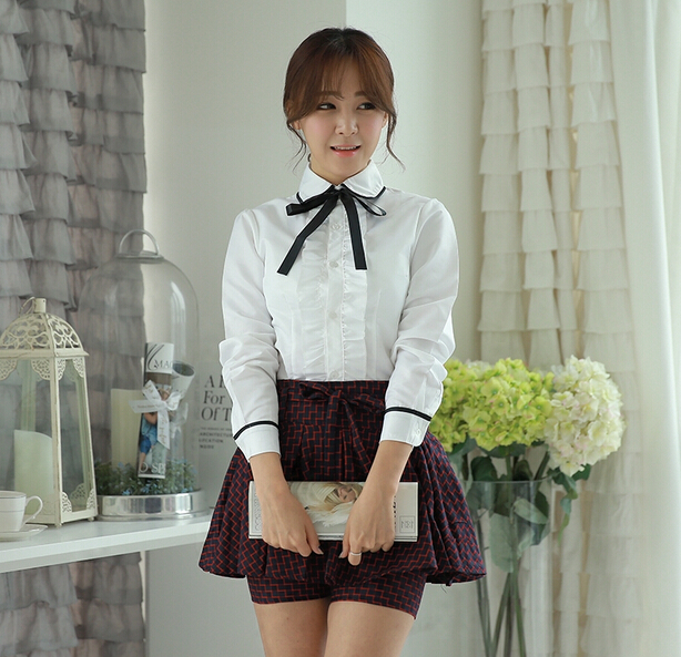high schoo girl l uniform designs white long sleeve shirt and grid skirt school uniforms wholesale