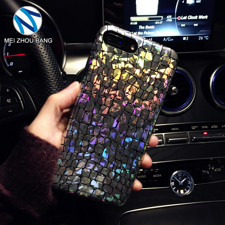 holographic reflective discoloration silver crocodile skin phone case for iPhone