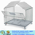 Hot sale recycle saving space metal collapsible transport containers loading capacity 250-2500kg industrial metal mesh cages