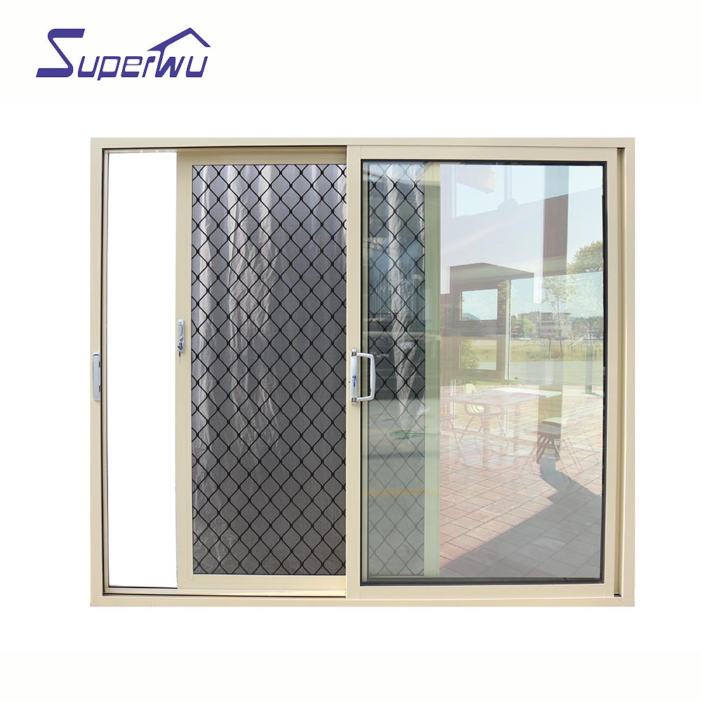 100 series heavy sliding door 1.4mm wall thickness fire rated glass triple panels Aluminium sliding door with air vent