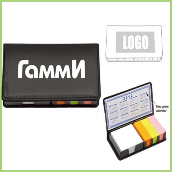 "Promotional 3""x 3"" Sticky Note Pad with PU case"