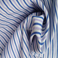 65% polyester 35% cotton T/C yarn dyed fabric purple blue white stripe fabric for shirt