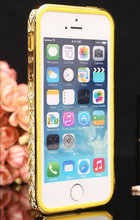 Rhinestone Luxury Crystal Diamond Bling Gold Metal Case Bumper For iPhone 5 5s iPhone 4 4s