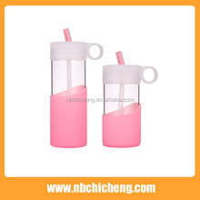 Glass Bottle With Insulated Silicon Cover Unbreakable Water Bottle Cup With Silicone Cover