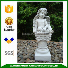 small angel sitting on pillar resin angel figurine