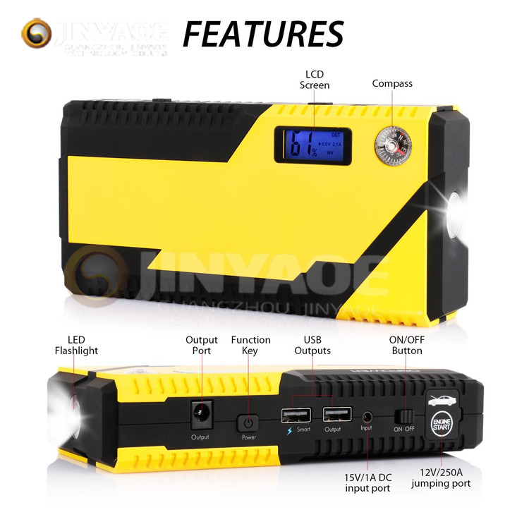 LCD&Compass 600A Peak 15000mAh rony mini car jump starter