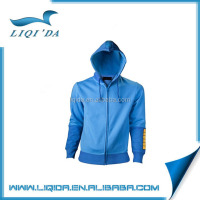 Popular custom stylish zipper-up blue polyester men hoodie jacket embroider logo