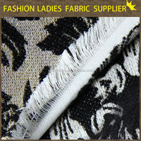 fashion ladies dress fabric The latest 2013 100%polyester black sinoer logo jacquard fabric for suit lining