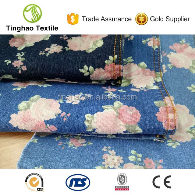 New fashion indigo print cotton blended denim clothes fabric