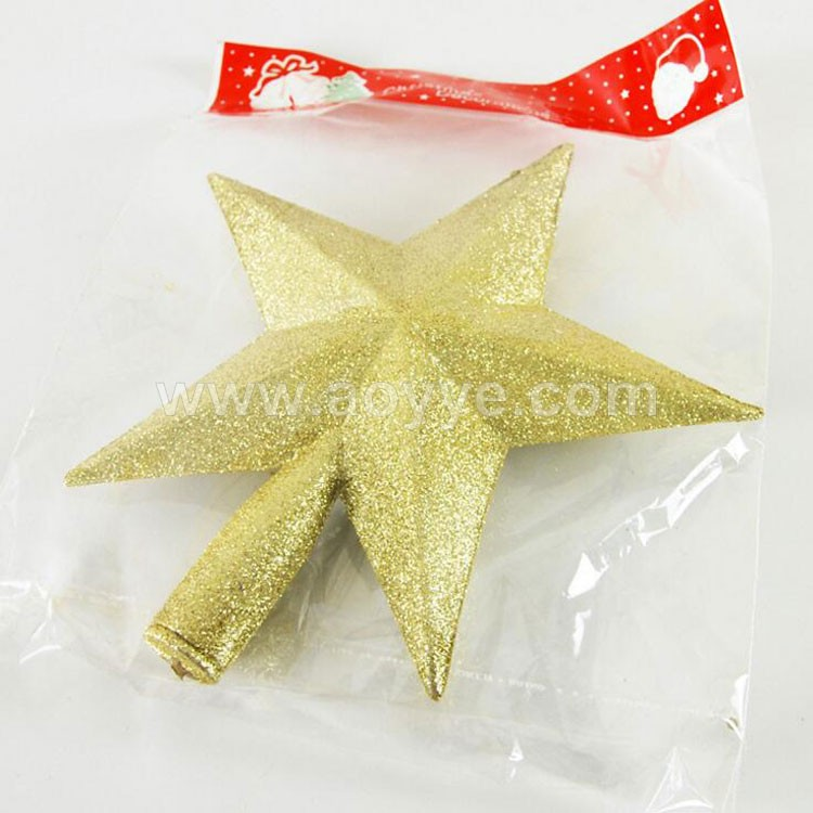 Cheap wholesale Christmas tree decorations top star gold glitter sequins pentagram