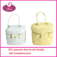 2013 PU leather gold metal engraved packaging bag for hair