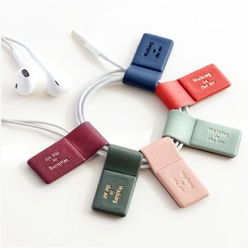 Magnet Earphone Winder/Bookmark/Pen Holder/Screen Cleaner PU Leather Earphone Cable Organizer with Embossed Logo