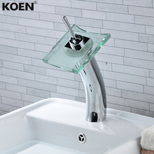 LED Glass Sink Faucet Bathroom Mixer Pool Basin Water Tap