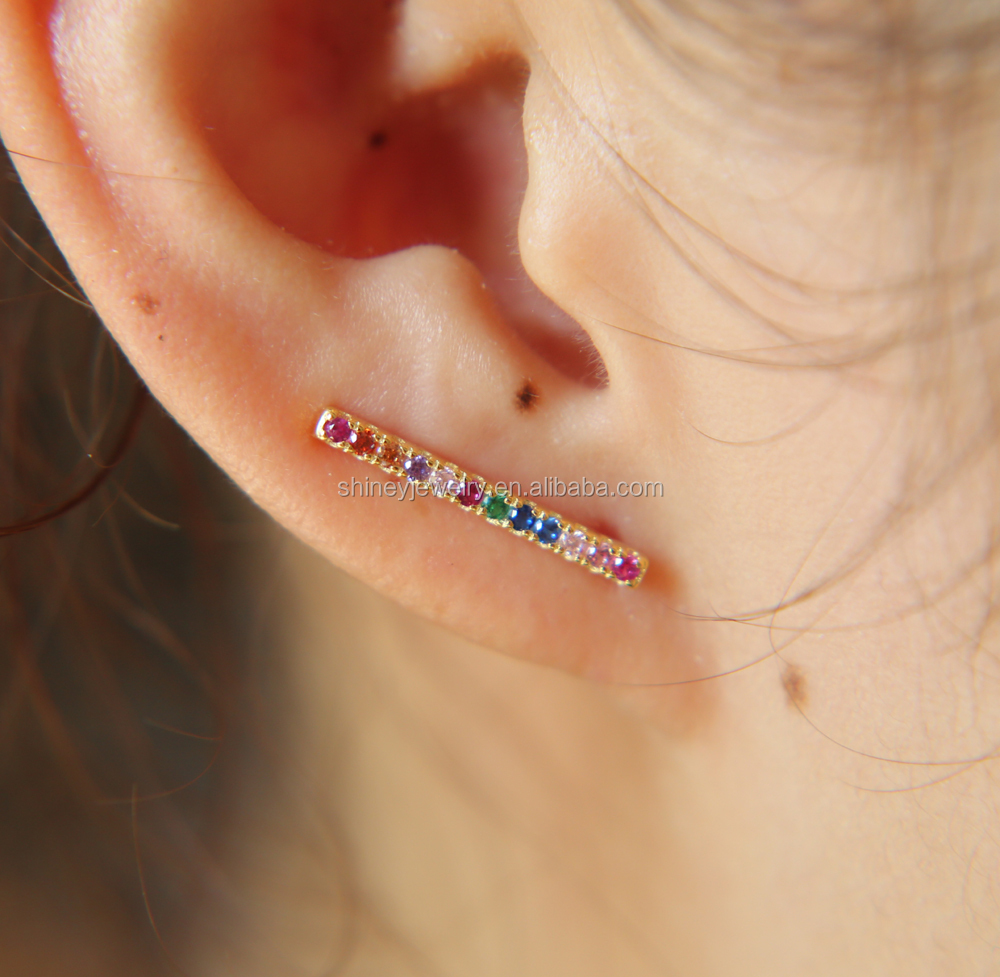 2017 high quality 100% 925 sterling silver multi color cz micro pave rainbow gold <strong>earring</strong>