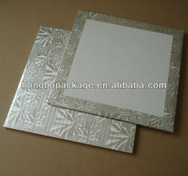 "1/4"" thick square silver foil edge wrapped cake boards"