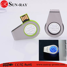 custom 3D logo usb key 2017 new swivel design usb flash drive with light up logo