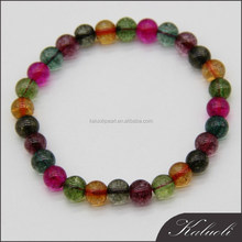 Multi-color adjustable length bracelet imitation tourmaline glass bead jewelry