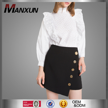 Brand High Quality Fashionable Cotton Eyelet Ruffled Blouses Women tops and Blouses