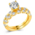 RI00180 Yiuw WT wholesale unique zircon inlaid ring design,18K gold plated copper cute couple rings