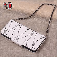 Luxury Diamond Flower Pattern Flip PU Handbag Case Wallet Card Holder Hand Strap Portable Cover Phone Case For Samsung s6 s6edge