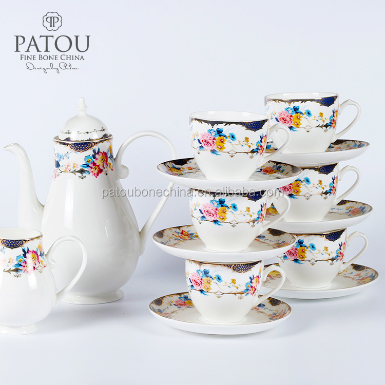 Bone china porcelain tea pot coffee cup set manufacturers in China