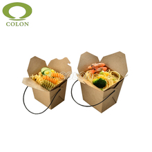 Paper noodle box Chinese take away bowl with plastic wire handle