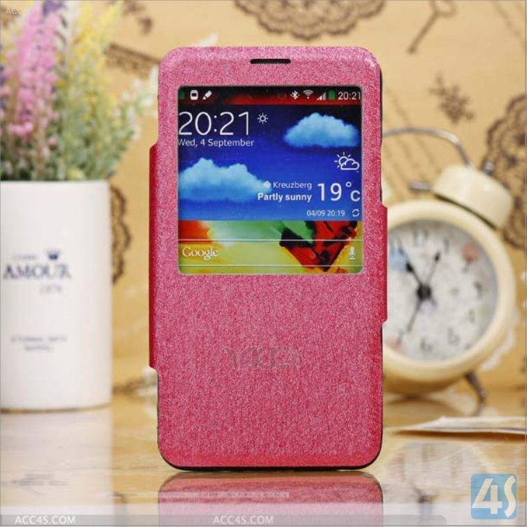 For Samsung Galaxy Note 3 Case Leather Cover Window View P-SAMN9000CASE011