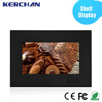 Shelf mounting 7 inch point of purchase video display motion sensor for optional